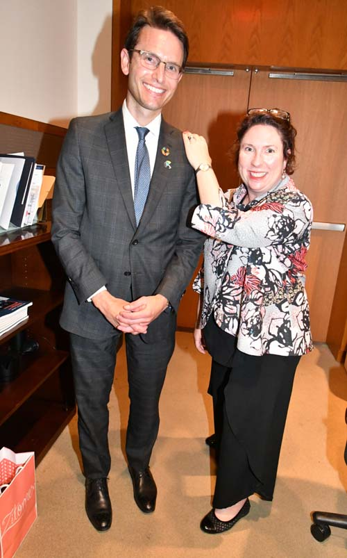 "Chris Grey, Senior Director, Global Health and Patient Access team, Pfizer, New York with Dr. Claire Brolan, Center for Policy Futures, University of Queensland, Australia, and member of the Finance Cluster of the ""SDGS in Action"" initiative"