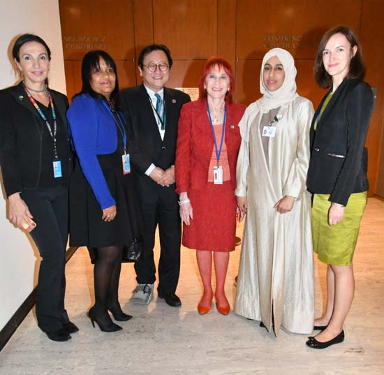 Tamar Tchelidze, Counselor in the UN Mission of Georgia that co-drafted the UHC Political Declaration; Cuba Deputy Minister of Foreign Affairs Camejo; Japan UN Mission Ambassador Toshiya Hoshino; Dr. Judy Kuriansky; UAE Minister of Community Development Hessa Bint Essa Buhumaid; and WHO co-organizer Eva Kiegele