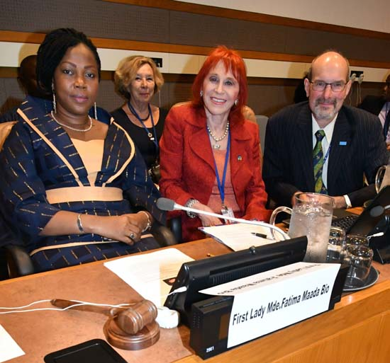 Deputy Executive Director of the WHO UN New York Office Werner Obermeyer with the First Lady of Sierra Leone and Dr. Judy Kuriansky; back row: Dr. Christine Roland-Levy, President, International Association of Applied Psychology