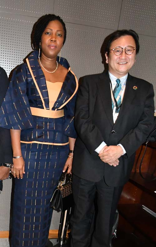 Ambassador Toshiya Hoshino, Deputy Permanent Representative of the Mission of Japan to the UN with the First Lady of Sierra Leone