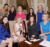 Front row: (Left to right) 2016 Elly Awards Honorees Phillipa Soo, Kay Koplovitz, Rosie Rios and Moderator Paula Zahn Back row: Ren�e Elise Goldsberry, Jasmine Cephas Jones, Carolyn Carter, President of the Women�s Forum of New York, Cathy Baron Tamraz and Christie Hefner. The event raised $250,000 for the Education Fund of the Women�s Forum of New York.Photo by Cindy Ord/Getty  .
