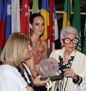 Joana Caparros, President of Women Together, with Malu Edwards and special award recipient, Iris Apfel.  Photo by:  Micky Hurly