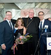 Committee Co-Chairs Thomas O?Halloran, Andrea Baker, Timothy Dempsey, and His Eminence, Timothy Michael Cardinal Dolan.  Photo by: Ben Asen