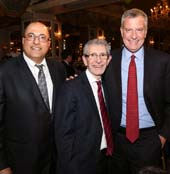 Israeli Consul General, Ido Aharoni, Michael S. Miller and Mayor Bill de Blasio.  Photo by:  Michael Priest