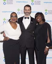 Oprah Winfrey, Action Against Hunger CEO Andrea Tamburini, and World Food Programme Executive Director Ertharin Cousin attend the 2016 Gala Against Hunger in New York City. Ms. Winfrey accepted the Corporate Award, designed by Chopard, on behalf of Weight Watchers International, and Ms. Cousin accepted the Humanitarian Award, also designed by Chopard. (Photo: Action Against Hunger)