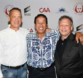 "From left, Tom Hanks, Smokey Robinson and Ben Donenberg, Founding Artistic Director, Shakespeare Center Los Angeles arrive for the opening night of the Simply Shakespeare performance of ""Much Ado About Nothing"" for the Shakespeare Center of Los Angeles at UCLA's Freud Playhouse on Monday, Sept. 19, 2016, in Los Angeles, California."