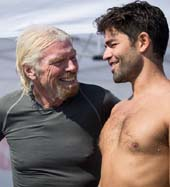 Actor and environmental advocate Adrian Grenier completed a 1.9-mile open ocean swim challenge from Sir Richard Branson in support of the Lonely Whale Foundation and ocean health. Here he is seen under water in Italy�s Strait of Messina throwing up L-W for Lonely Whale (Foundation
